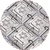 Star of David Sterling Silver Atarah on Square Buttons - D-STAR
