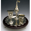 Nickel-Plated and Mahogany Wood Havdalah Set with Tray