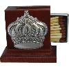 Wood Matchbox with Sterling Silver Crown - 8703