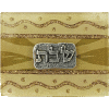 Pearl and Gold Small Glass Match Box with Shabbat Applique by Lily Art