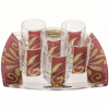 Burgundy Glass Liquor Set with Matching Tray by Lily Art
