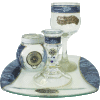 Blue Glass Havdalah Set with Matching Tray by Lily Art