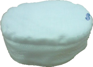 Hobel - White Cantorial Hat Kippah with Ribbon