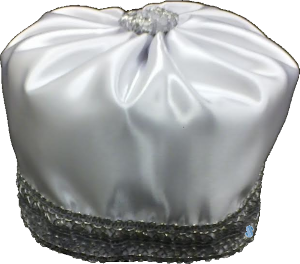 Hobel - White Cantorial Hat Kippah with Silver Trimming